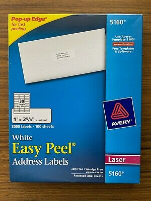 Avery 5160 Easy Peel Laser Address Labels 1 X 2 58 100 Sheets 3000 Labels