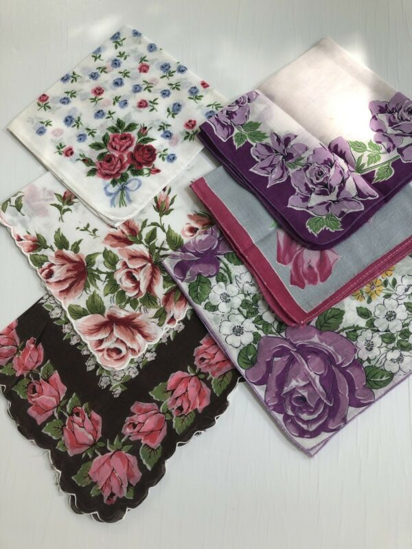 LOT OF 6 VINTAGE HANKIES ALL WITH ROSES - BEAUTIFUL DESIGNS AND BORDERS