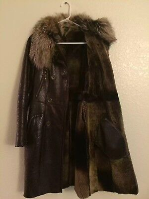 Shearling Leather Coat - 100% genuine leather, shearling sheepskin, silver fox fur coat women's XS