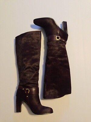 Burgundy Leather Calf Boots - Donald Pliner Owen Calf Hair Leather Boots Wine Burgundy Size 6
