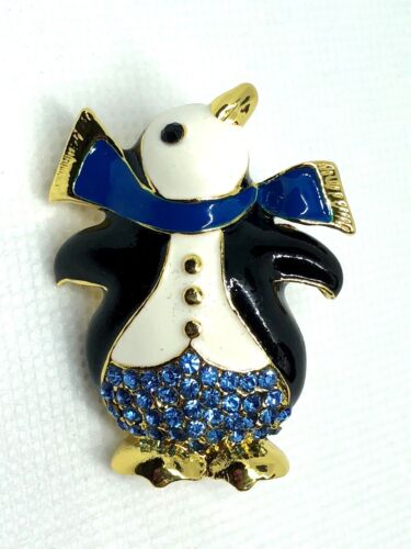"penguin Brooch pin blue rhinestones 1.25""""x1.75"" GIFTgold tone #4 mothers day"