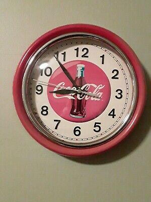 VTG Coca Cola Round Red Wall Clock Collectible Coke Bottle Advertising for parts