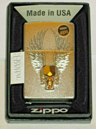 NEW Windproof Zippo USA Lighter 49034 Gold Skull Emblem & Wings Satin Chrome Cas