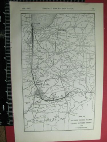 ORIG 1908 SOUTHERN INDIANA RAILROAD SYSTEM ROUTE MAP & CHICAGO SOUTHERN RR