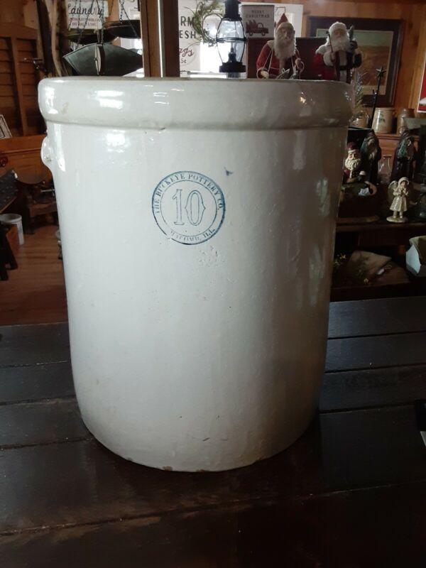 Antique 10 Gallon Crock Made By Buckeye Pottery Macomb Illinois