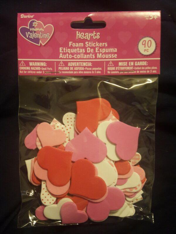 Foamies Valentine HEARTS Foam Stickers Darice 90 pieces