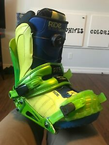 Snowboarding boots & bindings.
