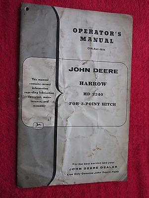 Vintage Original John Deere Hd2240 3-point Hitch Harrow Operators Manual