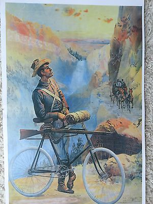 Winchester Poster Advertising Rifle on Pedal Bike, Old Time Yellowstone Park