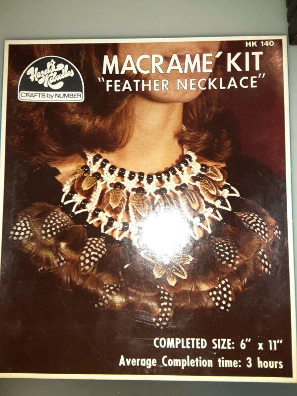 VINTAGE 1978 Hazels Kaboodles Macrame Kit Feathers Necklace Sealed NWT Crafting