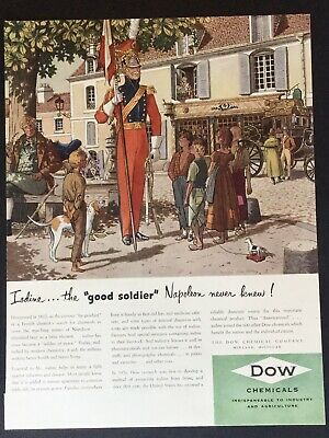 DOW CHEMICALS 148 Soldier Art 1950 Vintage Print Ad