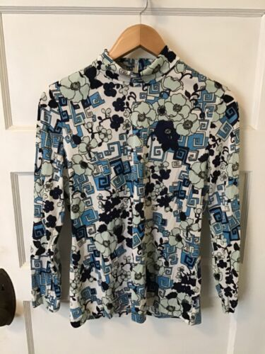 Vintage 70s Knit-Ins Womens M Psychedelic Blue Arnel Triacetate/Polyester Shirt