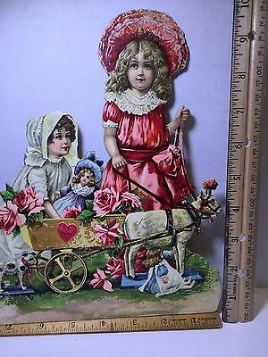 "Vintage Valentine Victorian die cut girls and goat cart, 9 1/2"", repaired"