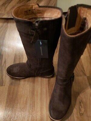 BNWB Tommy Hilfiger Womens Ilia 4 Leather dark brownToe Knee High Fashion Boots