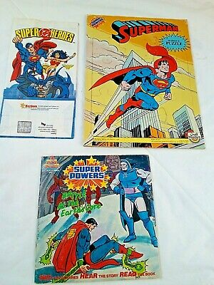 Vintage,Super Heroes Hardees Bag,Super Powers Book,Superman Tray Puzzle,Darkseid