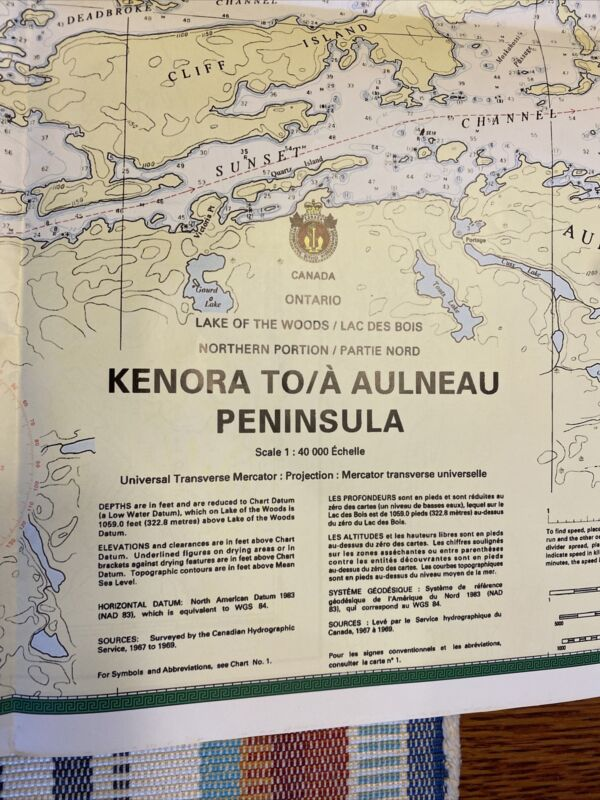 "Ontario Canada - Lake of the Woods 35x26""Kenora 2001 Nautical Chart/Map 2 Sided"