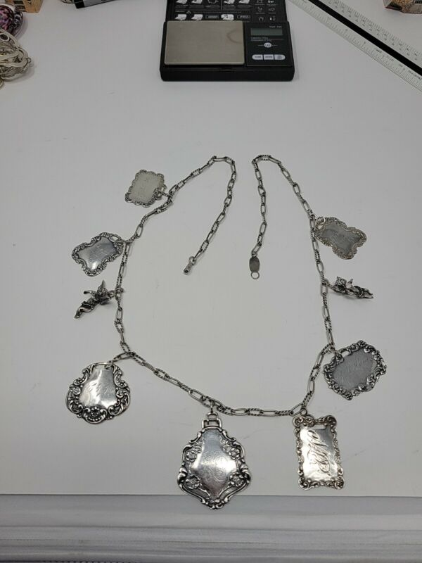 Vintage Foree Hunsicker Sterling Silver Cherub Luggage Tag Necklace