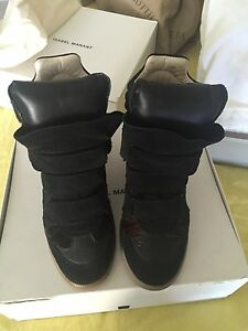 Pre-owned Isabel Marant Beckett Black Suede Wedge Sneakers Women in FR 40