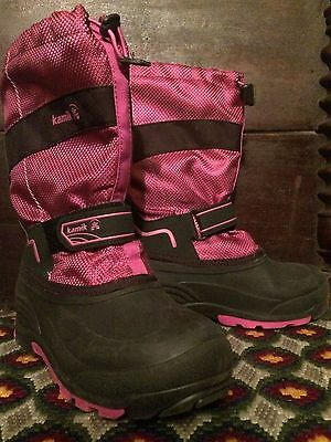 Girls Pink & Black Winter Snow Boots Ladies Marked 6 (Fits Women 7.5-8 Snug) USA