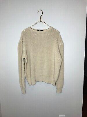 Mens Yang Li Cotton Tan Beige Oversized Knit Crewneck Pullover Sweater Size 42