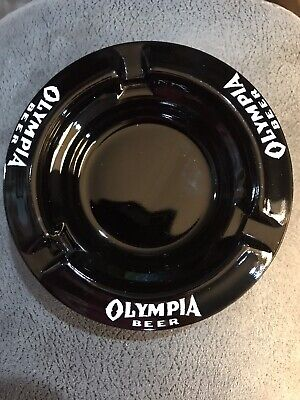 VINTAGE OLYMPIA BEER BREWERY ADVERTISING BLACK GLASS ASHTRAY