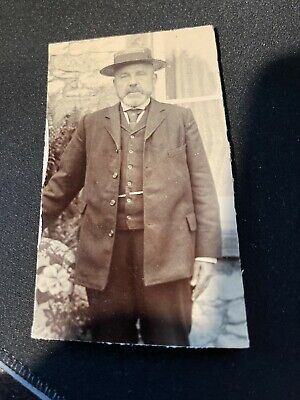 Men's 1920s Style Ties, Neck Ties & Bowties ANTIQUE OLD MAN GENT WITH HAT HORSESHOE TIE PIN  REAL PHOTO PHOTOGRAPH $13.97 AT vintagedancer.com