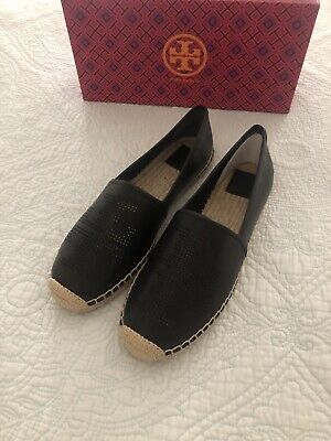 TORY BURCH PERFORATED LOGO ESPADRILLE SHOES BLACK LEATHER Women Size 10.5 New