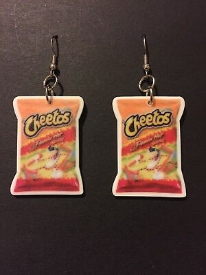 Inspired Jewelry Earrings (Flaming Hot Cheetos Inspired Dangle Earrings, Jewelry )