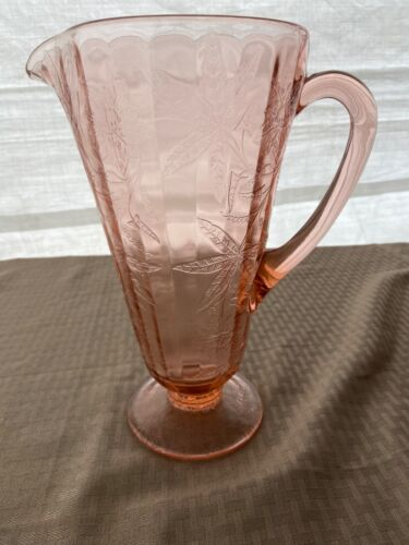 "Jeanette Pink Poinsettia Flawless Lemonade Pitcher 10.25"" Depression Glass"