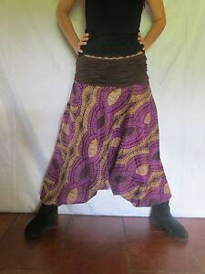 Sarouel ethnique vetements hippie baba cool africain roopa violet ebay - Vetements hippie baba cool ...