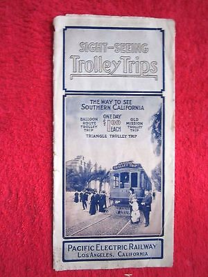 (1912 SOUTHERN CALIFORNIA TROLLEY TRIPS PACIFIC ELECTRIC RAILWAY BROCHURE MAP )
