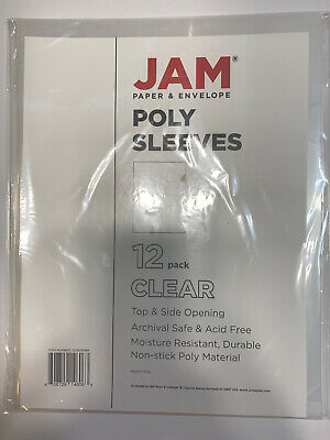 JAM Plastic Sleeves, 9 x 11 1/2, Clear, 12/Pack