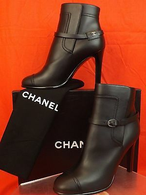 16A NIB CHANEL BLACK LEATHER BELTED CC LOGO HIGH HEELS ANKLE BOOTS PUMPS 38