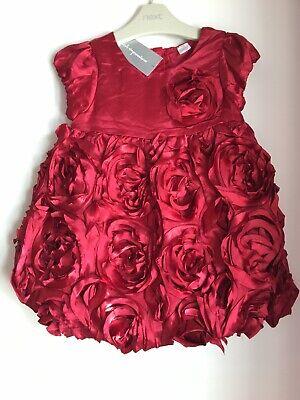 BNWT MACY's Baby Girls Stunning Red Rose Lined Dress Matching Undies Sz 24 12-24 (12 Stunning Red Roses)