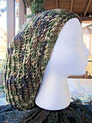 Tam Hat (Handmade Crocheted Rasta Reggae Dreadlocks Tam Beret Slouchy Camouflage)