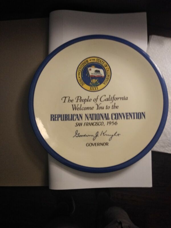 1956 Republican National Convention Plate,San Francisco, Uncle Bought in 56