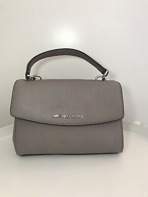Michael Kors Ava Extra-Small Saffiano Leather Crossbody Pearl Grey