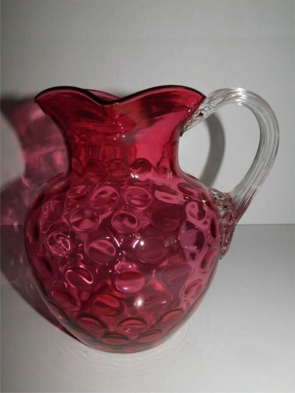 ANTIQUE VICTORIAN CRANBERRY GLASS COIN SPOT DOT WATER PITCHER RIBBED HANDLE
