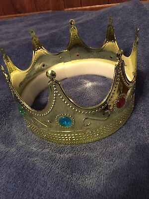 Plastic King Gold Crown  Jeweled Hat Regal Adults Prince Costume Prop LOT