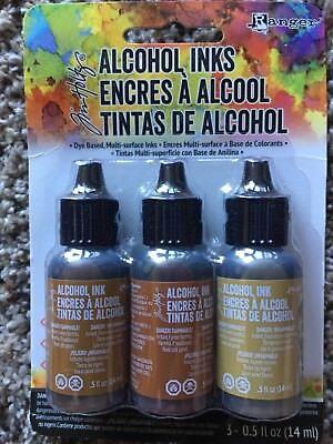 Tim Holtz Alcohol Ink .5oz 3/Pkg Cabin Cupboard-Caramel/Ginger/Latte 20691 NEW