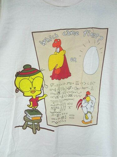 Vintage 1996 Warner Bros FOGHORN & EGGBERT Which Came First? Size L T-Shirt