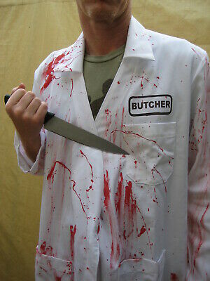Butcher Halloween Costume (BUTCHER BLOODY REAL LAB COAT Adult Halloween Costume High Quality doctor psycho)