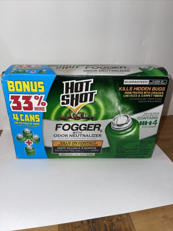 Hot Shot INDOOR FOGGER Bug Bomb Insect Killer Tick Roach Ant Spider Flies 4 Can