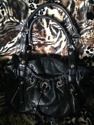 B.Makowsky Glove Leather Double Handle Pocket Shopper Black Libson (Leather Double Handle Shopper)