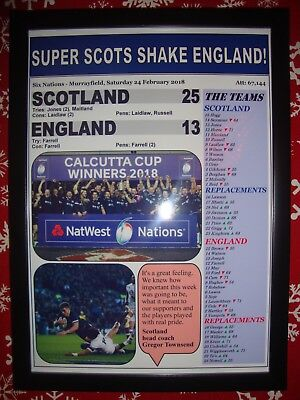Scotland 25 England 13 - 2018 Six Nations - framed print