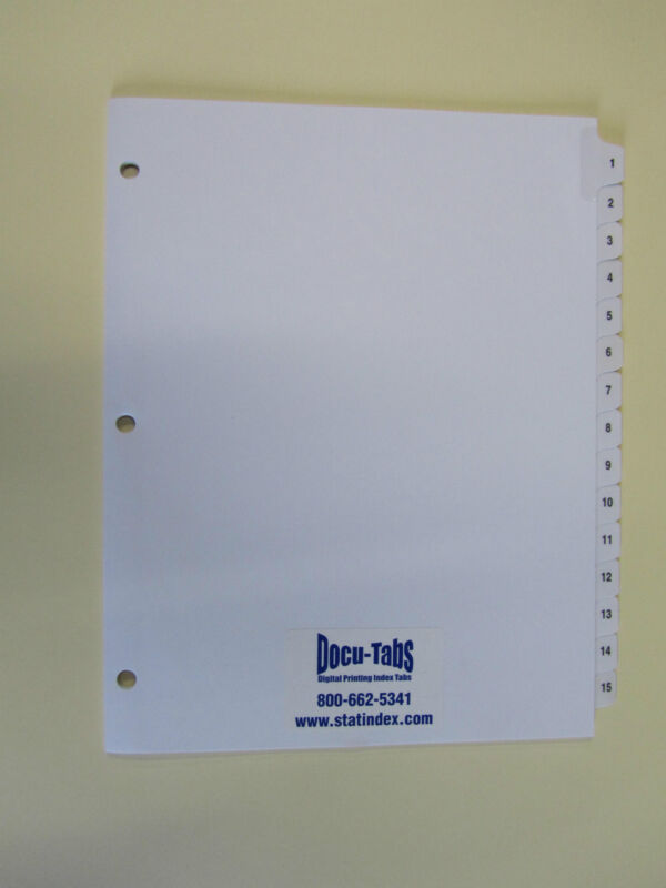 160 SETS # 1-15 Numbered index tabs, 3 hole punched