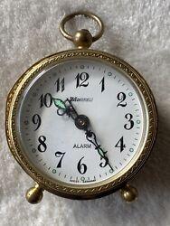 Vintage Wedgefield Wind-Up Alarm Clock 26-87-20 Box Metal Brassy West Germany