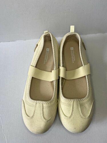 Ladies Cream Beige Canvas Mary Jane Mountain Warehouse Walking Shoes Uk Size 4