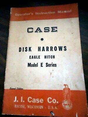Case E Series Disk Harrow Eagle Hitch Owners Operators Manual
