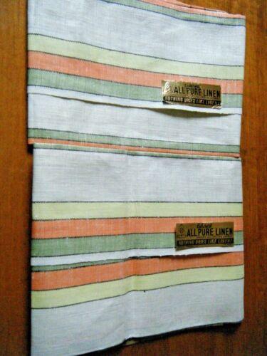 Vtg set 2 Towels kitchen or Tea Towel-Belcrest pure linen w cotton stripes NOS